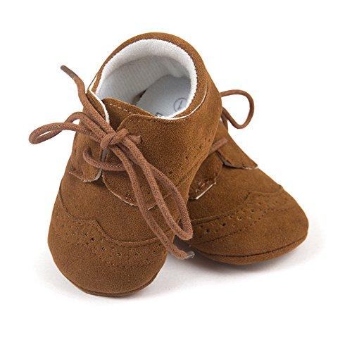 Top-Sell 1pair Zapatos De Bebé Infantiles Faux Leather Anti Slip Soft Bottom Prewalker Shoelace Marrón