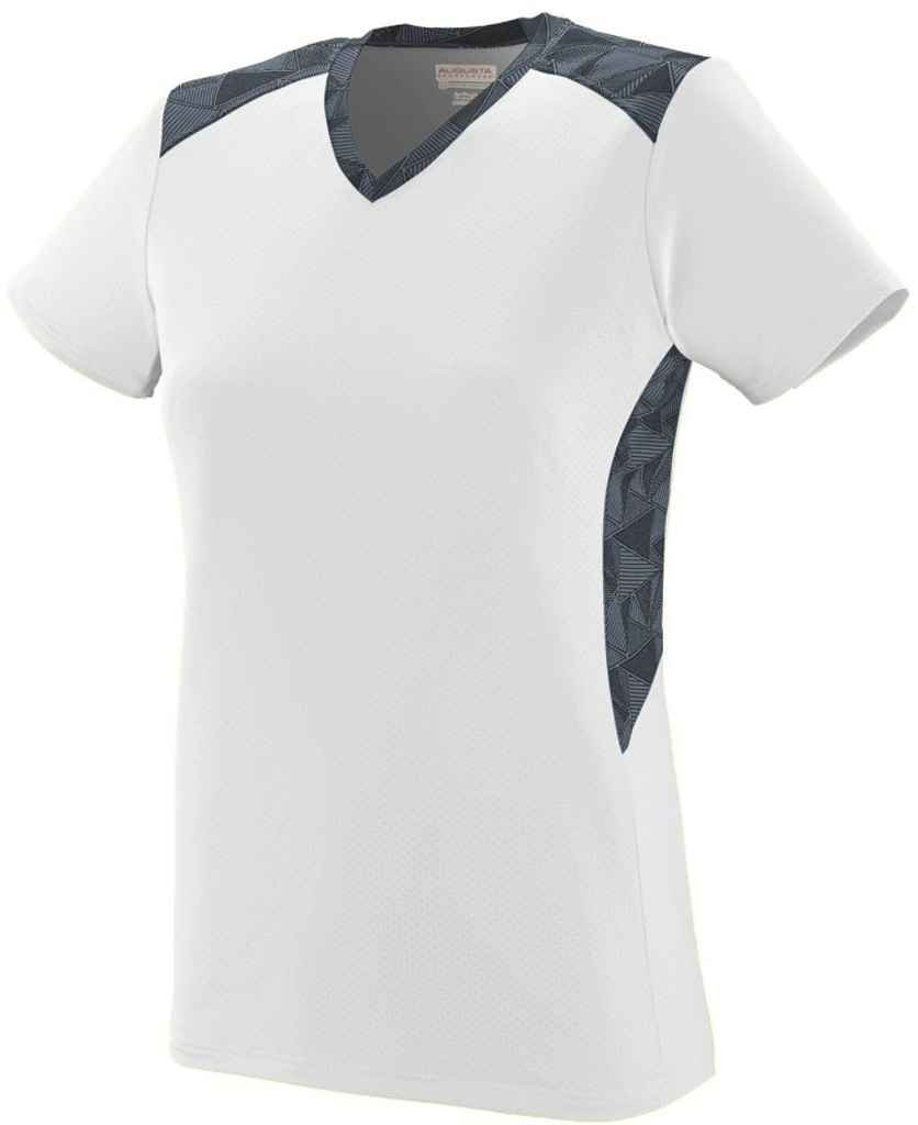 Augusta SportswearレディースVigorousジャージー B00P53ZW7I Small|White/Graphite/Black Print White/Graphite/Black Print Small
