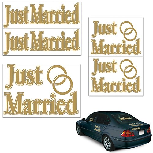 Just Married Auto Clings - Club pack of 60 Assorted Gold Just Married Auto-Clings