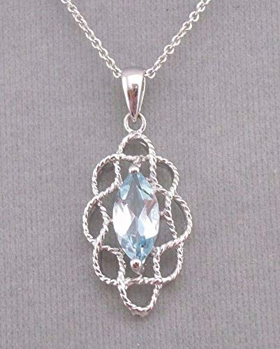 Silver With Blue Topaz Pendant Necklace For Women Jewelry NEW Lovely!