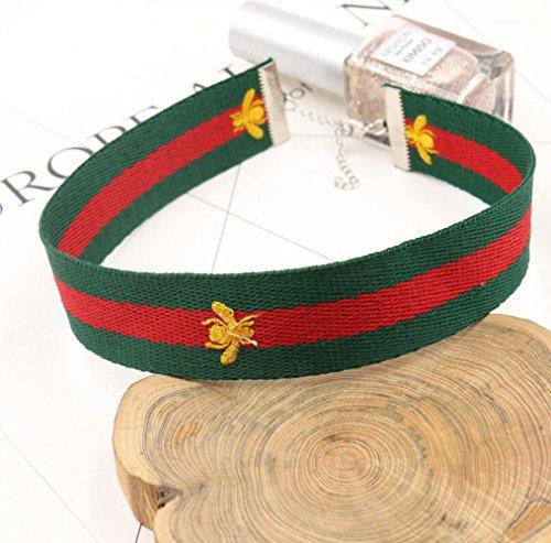 Gudeke Mode féminine Red Green Bee Choker Delicate chaîne Clavicule Collier avec pendentif
