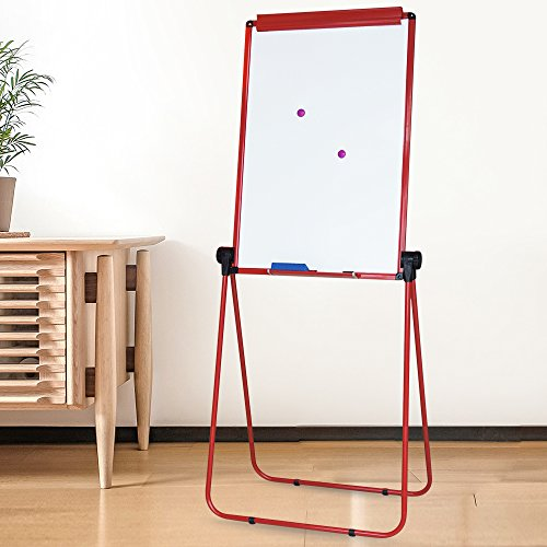 XIWODE Magnetic Easel-style Dry Erase Board, Flip Chart Red U-Stand Whiteboard, 36 x 24 Inch,Aluminum Framed, with Metal Clips and Eraser, Foldable White Board for School, Home, Office by XIWODE (Image #5)