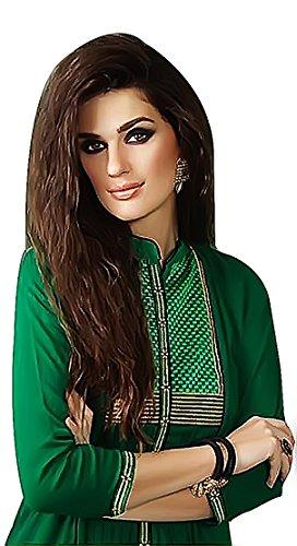 Jayayamala Cotton Tunika-Kleid in grün / lange Baumwollcocktailkleid / Plisseekleid