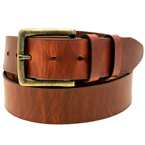 1 1/2 Hot Dipped Tan Harness Leather Belt With Antique Brass Buckle Size 42 (Leather Harness Buckle Belt)