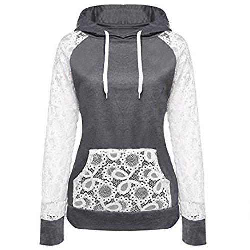 - ♡QueenBB♡ Coat Women Sheer Lace Long Sleeve Hooded Patchwork Sweatshirt with Pockets Dark Gray