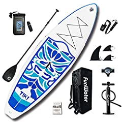 FunWater new ULTRA-LIGHT TIKI cruise inflatable SUP, which features durable top foam and non-slip grip. This inflatable stand up paddle board use the new ultra-light construction is 35% lighter than comparable models. The board only weight 17...