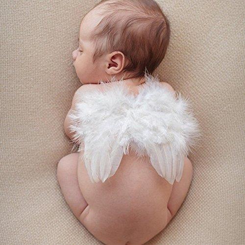 Baby Nette Engel Feder Flügel Fotografie Kostüm Stütze Foto Stütze mit Elastische Perle Strass Blume Stirnband Set für Mädchen Weiß special ZM-A1