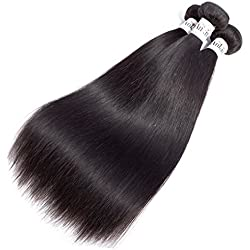 Anknia Brazilian Virgin Hair Straight 3 Bundles Deals 10 12 14 Inches 300 Gram 8A 100% Unprocessed Human Hair Extensions Natural Color Good Cheap Weave Brazilian Straight Hair Bundles