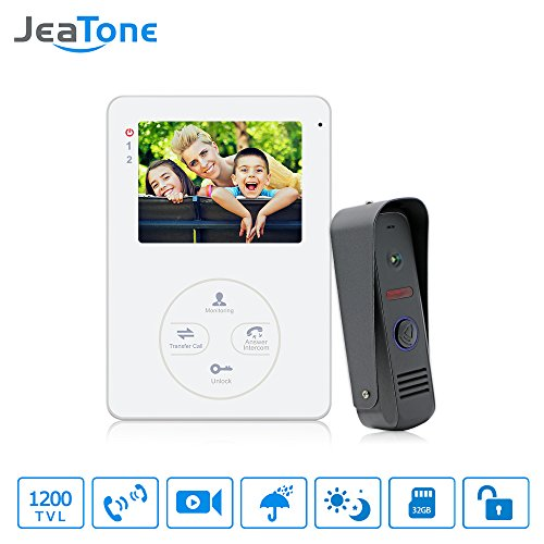 Jeatone 4 Inch Indoor Door Phone Monitor and Outdoor Doorbell Camera Intercom System Touch Key Night Vision HD 1200TVL Home Security Kit IP65 Rainproof with Rain Cover -  P202B1M404W1