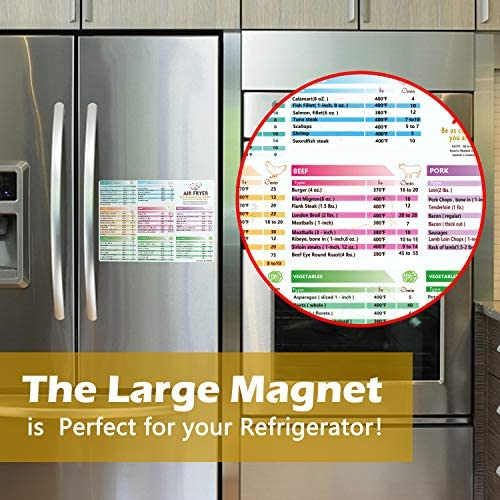 Air Fryer Magnetic Cheat Sheet Cookbook Cooker Accessories Big Magnet 11''x8'' Cooking Times Chart Kitchen Hot Air Frying Useful Gift Guide Cookbook Recipes Reference 4