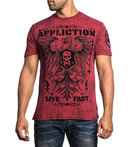 Affliction Men Live Fast Eagle Super Tee Short Sleeves Crew Neck in Dirty Red Wash