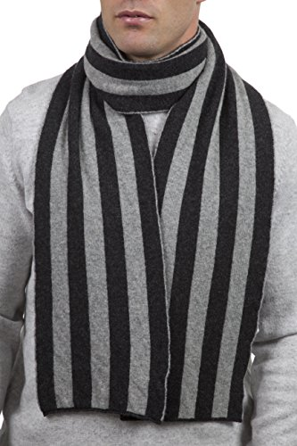 (Great & British Knitwear Men's CMCH001 100% Lambswool College Stripe Scarf-Charcoal-One Size)