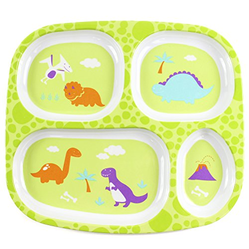 (Bumkins Divided Plate, Melamine Tray Plate, Toddler, Kids, BPA Free, Stackable, Dishwasher Safe – Dinosaur)