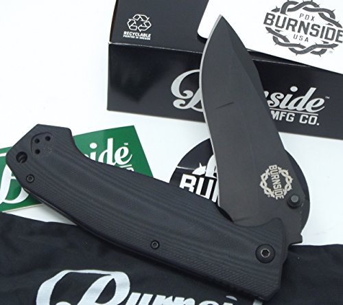 Burnside Knives Black G10 Handle Spear Point Aus-8 Stainless Blade Finish Titanium Nitrate (Spear Titanium)