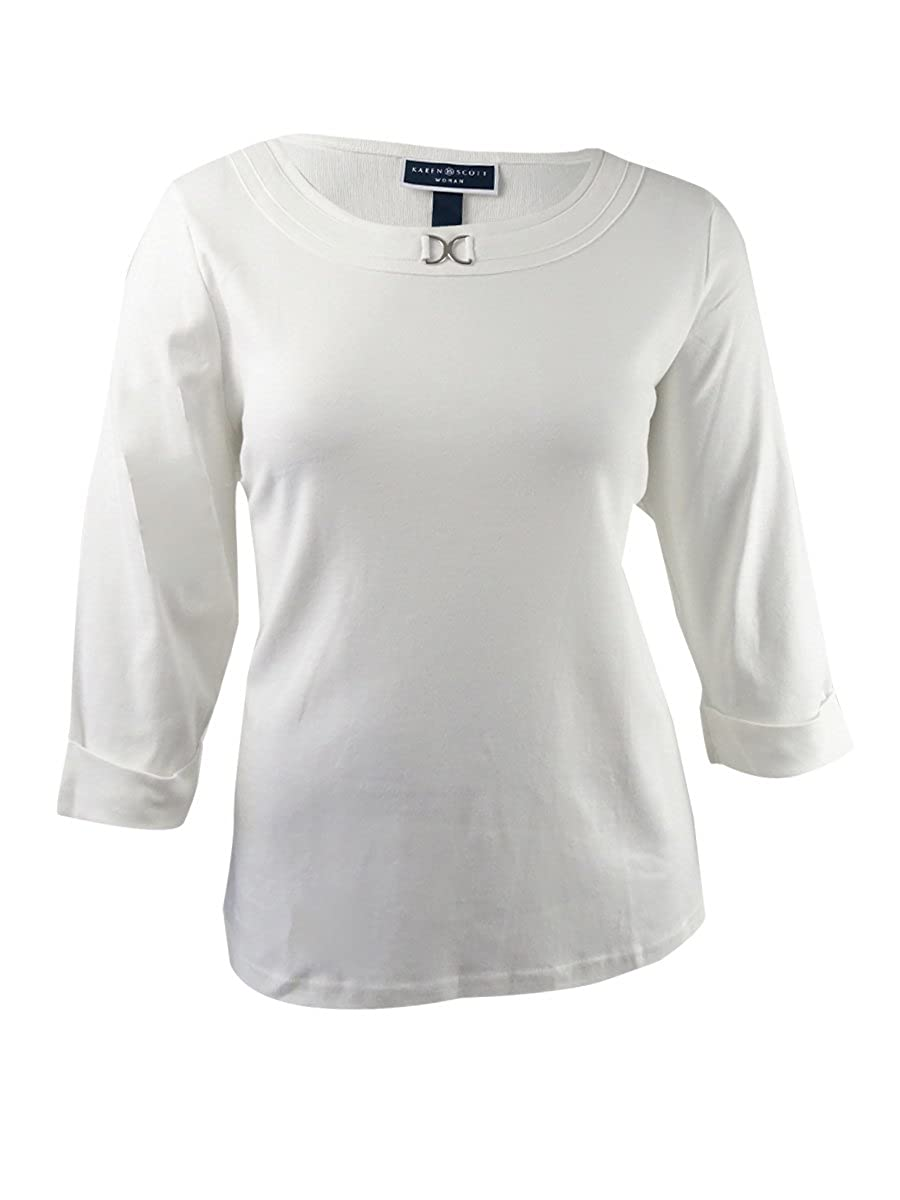 879551693351b Amazon.com  Karen Scott Plus Size Marilyn Buckle-Trim Top Size 1X  Clothing