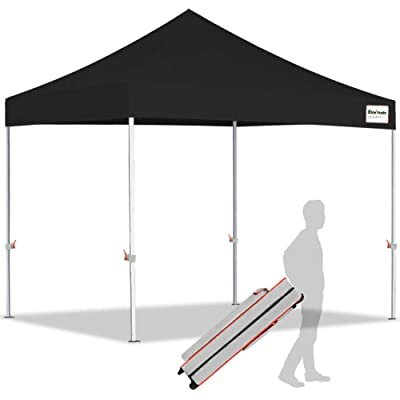 EliteShade 10'x10' Ez Pop Up Canopy Tent Commercial Instant Canopies with Heavy Duty Roller Bag, Bonus 1 Removable Sunwall (Black) : Garden & Outdoor