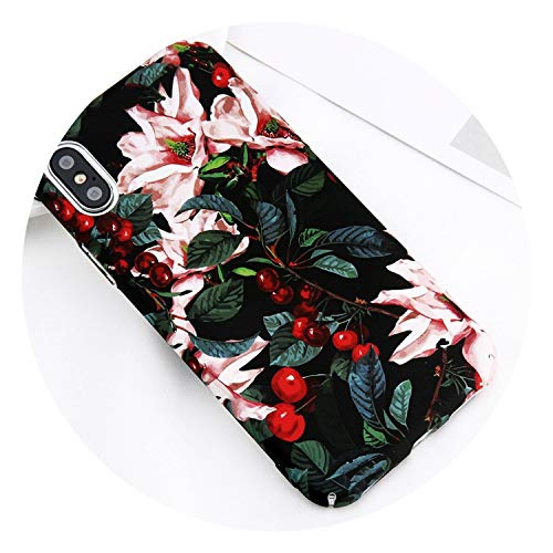 Phone Case for iPhone X 8 7 6 6s Plus 5 5s Pretty Floral Cartoon Leaves Flower Pattern Hard PC Cover Cases for iPhone 8,Taq,for iPhone 7 Plus