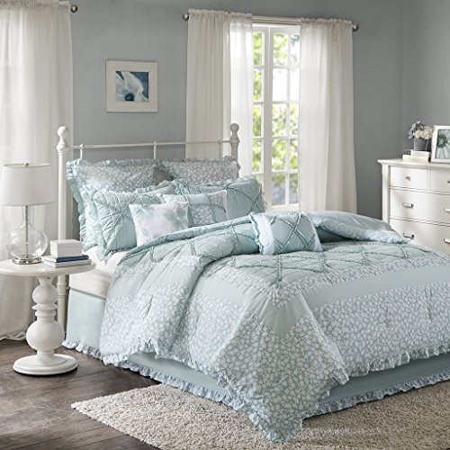 Madison Park Mindy 9 Piece Cotton Percale Comforter Set Seafoam Cal King (Percale Comforter Set)