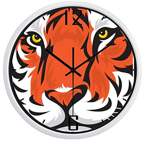 Metal Glass Wall clocklife Kids Bedroom Colorful Wall Clock Chic Large Cartoon Tiger Head Art Clock12inch