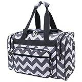 Grey & White Chevron Print NGIL Carry on Shoulder 17″ Duffle Bag