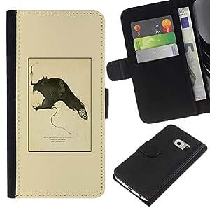 For Samsung Galaxy S6 EDGE Case , Devil Biology Evolution Fish Monster - la tarjeta de Crédito Slots PU Funda de cuero Monedero caso cubierta de piel
