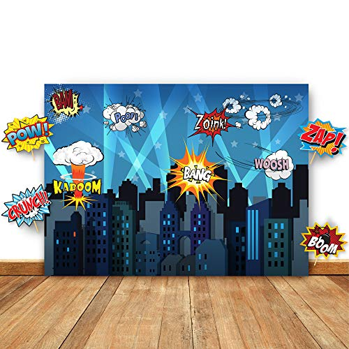 Superhero Cityscape Photography Backdrop and Studio Props DIY Kit. Great as Super Hero City Photo Booth Background – Birthday Party and Event Decorations for $<!--$19.95-->