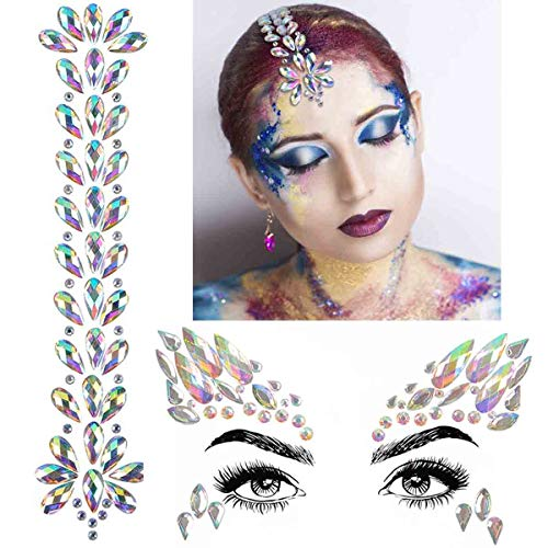 COKOHAPPY 2 Sets Mermaid Face Hair Gems Festival Jewels Temporary Tattoos Self Adhesive Bindi Rhinestone Glitter Sticker Crystal for Eyes Face Body Rave Makeup Party Decoration (Collection - Jewel 2