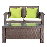 Windaze 2-PCS Wicker Pattan Sectional Sofa Set with Cushions, Outdoor Patio Furniture Sets with 2 Throw Pillows Bonus (Brown)