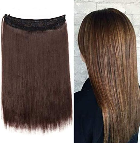 Extensiones de cabello con Invisible Recto Largo 40cm Pesa 105g Diadema Uncia Alambre en Extensiones de Cabello Sin Clip - Marrón Chocolate