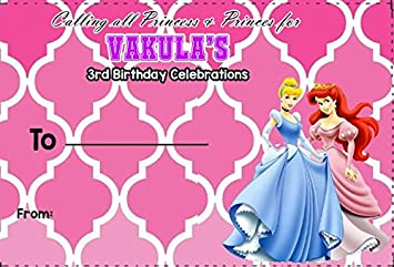 WoW Party Studio Personalized Disney Princess Theme Birthday Invitation Envelopes With Boy Girl Name