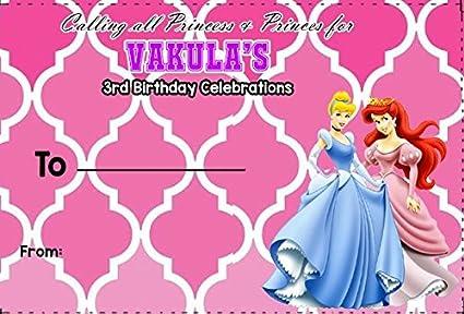 Personalized WoW Party Studio Disney Princess Theme Birthday Invitation Envelopes With Boy Girl