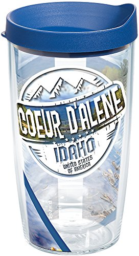 Tervis 1253035 Idaho - Coeur D'Alene Stamp Tumbler with Wrap and Blue Lid 16oz, Clear