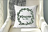 Last Name Pillowcase, Established Date Pillow Cover, Wreath Pillow Cover, Monogram Pillowcase, Family Name, Wedding Gift, Custom Name, Gift for Anniversary