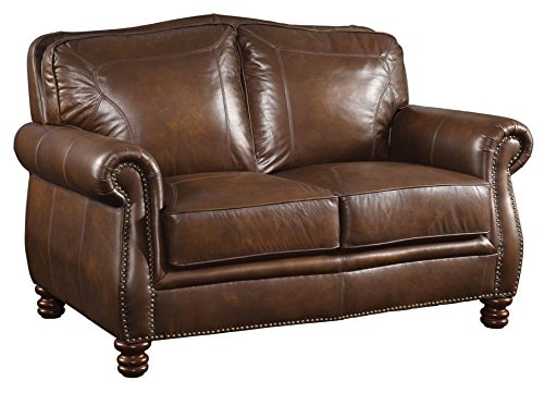Coaster 503982 Home Furnishings Love Seat, Hand Rubbed Brown (Leather Loveseat With Nailhead Trim)