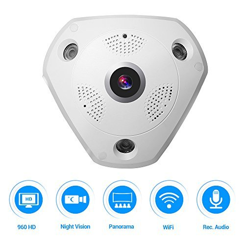 360 Panoramic Wireless IP Camera 960P Home Security Surveillance System CCTV Camera Two Way Audio Video 1.3 Megapixel WiFi Support Remote View IR Night Vision Motion Detection Super Wide Angle by Masione