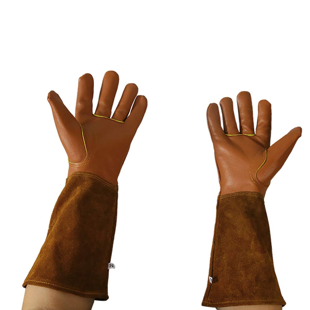 Goatskin Leather Garden Gloves,Yard Work Thorn Proof/& Cut Proof Long Arm Protectors Gardening Gloves Small Premium Cowhide Gloves Puncture Resistant For Pruning Roses