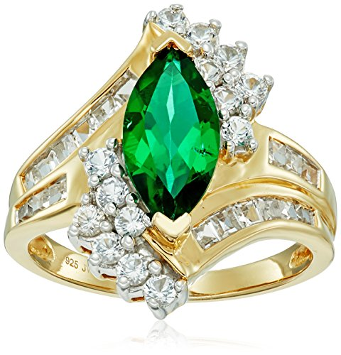 Sterling Silver Over 18k Yellow Gold Created Emerald Marquise Shape with Channel Set Created White Sapphire Ring, Size (Marquise Created Emerald Ring)