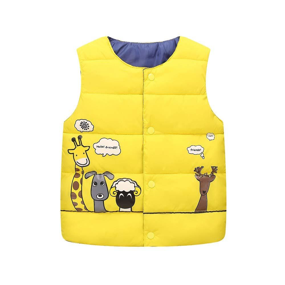 Yalasga Kids Sleeveless Jacket Baby Girls Boy Animal Print Lightweight Warm Puffer Down Waistcoat Tops Vest