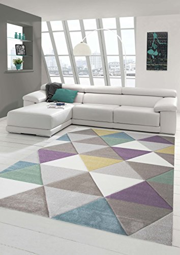 Design rug Contemporary rug Living room rug Short straight pile Carpet with...
