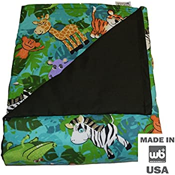 "WEIGHTED BLANKETS PLUS LLC - CHILD SMALL WEIGHTED BLANKET - JUNGLE - COTTON/FLANNEL (48""L x 30""W) 5lb MEDIUM PRESSURE"