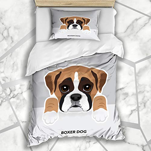 - Ahawoso Duvet Cover Sets Twin 68X86 Black Blue Face Boxer Dog Puppy Paw Brown Cute White Microfiber Bedding with 1 Pillow Shams