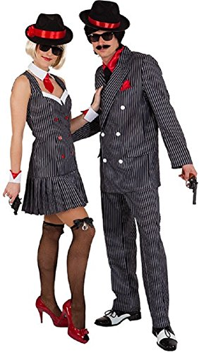 Couples Ladies AND Mens 20s 1920s Gangster Gangsta Mafia Mob Boss TV Book Film Soprano Fancy Dress Costumes Outfits (UK 10 (Eur 38) - Mens XX-Large (EU58/60)) -