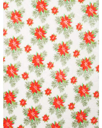 Berkshire Blanket Opulence Supreme Premium Loft Decorative Plush Fleece Throw Blanket Toss Red and Green Christmas Holiday Floral Poinsettia Blooms on White