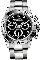 Rolex Cosmograph Daytona Stainless Steel Watch 116520 Black Dial