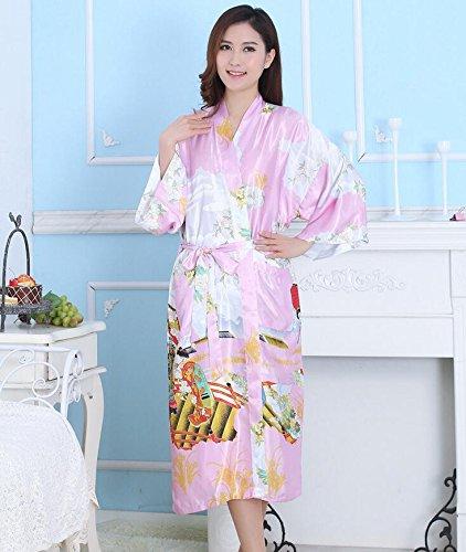 ZC&J Seda dama de camisón transpirable comodidad abierta albornoz servicio a domicilio albornoz de seda de alta calidad,Rose red,S Pink