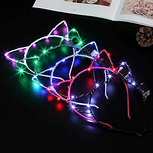 5-Pack LED Light Up Cat Ear Headbands Glowing Cats Crown Hairband Hair Hoop Hairband Hair Accessories for Party and Daily Decoration