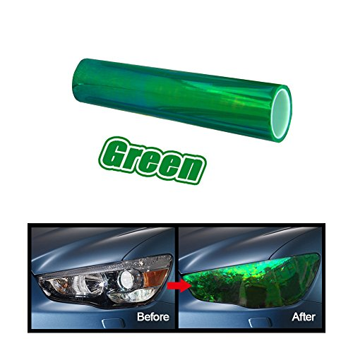 GREEN 12 by 48 inches Self Adhesive Shiny Chameleon Headlights Films,Film Sheet Sticker,Tint Vinyl - Of Green Tint