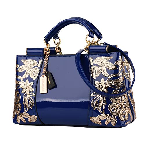 Nevenka Women Patent Leather Fashion Handbags (BLUE)