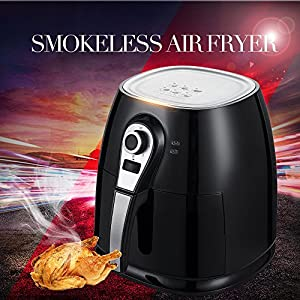 1400W Air fryer, Healthy Smokeless Low-Fat Non-stick Multi-Cooker Oilless Cooker, 4L 3.8QT Capacity with Timer and Temperature Control and Detachable Basket Handles (Black)