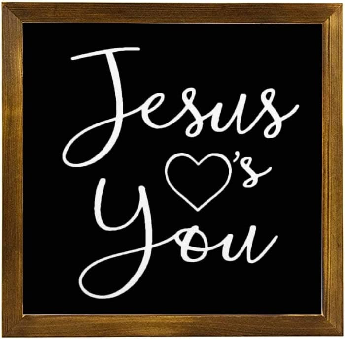 EricauBird Jesus Loves You Wood Sign, Religious Sign, Decorative Home Wall Art, Framed Sign for Home Wedding Party Farmhouse, Personalized Housewarming Gift, 12x12